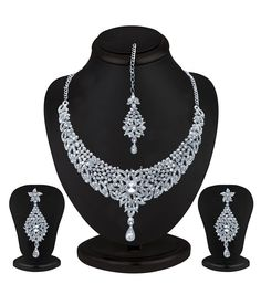 Sukkhi Splendid Rhodium plated AD Stone Necklace Set