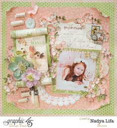 A stunning Once Upon a Springtime layout by Nadya Lifa! This is just simply magical. Over on the Paper Crafter's Library Blog #graphic45 #layout