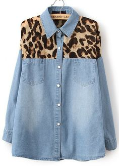 To find out about the Blue Contrast Yellow Leopard Bleached Denim Blouse at SHEIN, part of our latest Blouses ready to shop online today! Blouse En Jean, Denim Blouse, Denim Outfit, Denim Shirts, Linen Blouse, Motif Leopard, Leopard Pattern, Leopard Prints, Yellow Long Sleeve Shirt