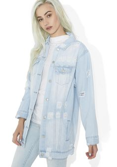 Livin' On A Prayer Denim Jacket yer halfway there, bb...This sikk denim jacket features a soft cotton construction, xxtra long fit, allover distressing, chest pockets, slash pockets and front button closure.