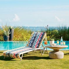 All-Weather Wicker Colorblock Woven Chaise Lounger | west elm
