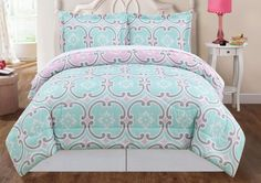 magenta, teal, and grey bedding - Google Search