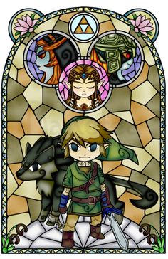 Another Wind Waker style piece! Twilight Princess in the Wind Waker stained glass style. I couldn't decide whether or not I liked the this purple background or the orange one, so now there are two. The Legend Of Zelda, Legend Of Zelda Breath, Wind Waker, Stained Glass Christmas, Stained Glass Art, Totoro, Super Manga, Princesa Zelda, Zelda Tattoo