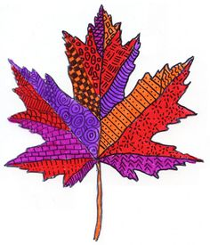 Sharpie and Acetate Pattern Leaf. Trace a photo of a leaf to get the shape, add patterns and then color. #Sharpie #artprojectsforkids