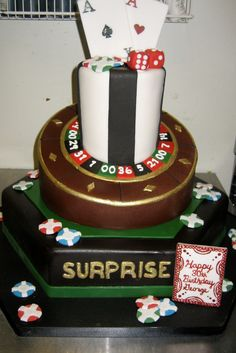 Amy Beck Cake Design - Chicago, IL - Spectacular gambling cake with poker and dice and roulette - #amybeckcakedesign