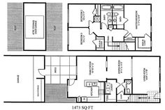 Naval Complex San Diego – Gateway Village Neighborhood: 3 bedroom 2.5 bath townhome floor plan (1473 SQ FT).