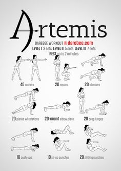 Artemis Workout Full body. Strengh tone. 3/5. Lower body strength, agility and endurance do not come easily. So work for what you want and you will get what you seek.  Extra Credit: 30 seconds rest between sets