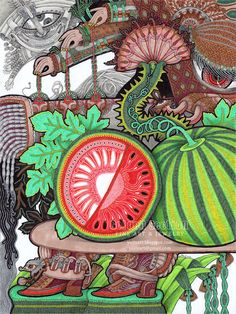 Print  Watermelon  illustration surreal drawing by @YuliyaArt #Print  #Watermelon  #illustration #drawing $26