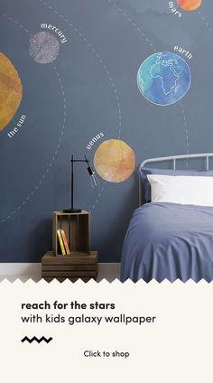 Kids Bedroom Wallpaper, Bedroom Murals, Bedroom Themes, Bedroom Ideas, Boys Space Bedroom, Boy Room, Outer Space Bedroom, Child Room, Room Kids