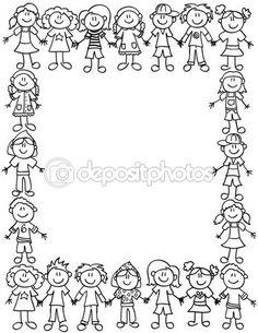Frame or page border of cute kid cartoon characters holding hands - black outline Page Borders, Borders And Frames, Kindergarten Portfolio, Doodle People, Kids Cartoon Characters, Stick Figure Drawing, Planner Doodles, School Clipart, Cute Frames