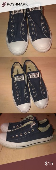 5bbdc255d82871 Shop Women s Converse Blue White size 8 Sneakers at a discounted price at  Poshmark. Description  Women s no laces Converse slip-ons.