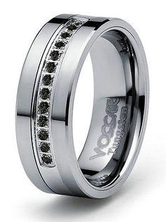 8mm 0.21ct Black Diamond Tungsten Modern Men's Wedding Ring Band Engagement in Jewelry & Watches, Jewelry & Watches | eBay