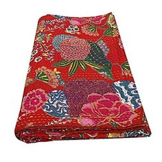 Beautiful decorative Indian handmade kantha quilt,Christmas Sale, bedspread, perfect bed matching blanket, size queen, Kantha Quilt Cotton Blankets, Cotton Quilts, Cotton Fabric, Kantha Quilt, Bohemian Quilt, Bohemian Bedspread, Indian Quilt, Queen Size Quilt, Fruit Print