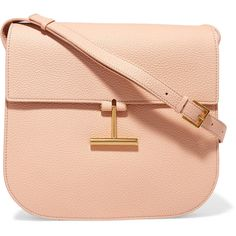 TOM FORD TOM FORD - T Clasp Textured-leather Shoulder Bag - Blush (£1,400) ❤ liked on Polyvore featuring bags, handbags, shoulder bags, cell phone shoulder bag, crossbody shoulder bag, red cross body purse, crossbody handbags and shoulder handbags