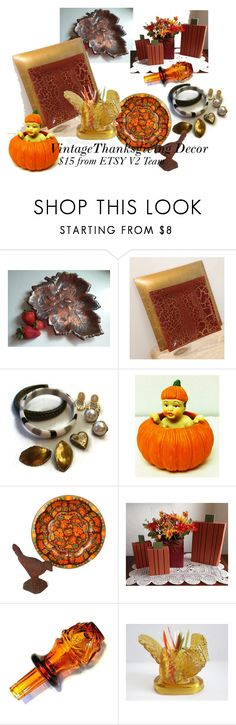Vintage Thanksgiving Decor from Etsy V2 Team by chaseybluevintage on Polyvore featuring interior, interiors, interior design, home, home decor, interior decorating and vintage