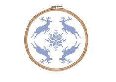 Reindeer and Snowflake Christmas Cross Stitch Pattern PDF Instant Download