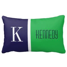 Simple, elegant, modern and trendy two tone color block stripe pattern or design for square or lumbar size throw accessory Pillows or Cushions.  Navy Blue, White and Apple or Kelly Green color background with  custom Monogram, Initial and name.   Click the 'Customize it' button to personalize this pillow or cushion and add your own Initial and Name in a preppy font.  This trendy, chic and stylish design is perfect for bedrooms, boats, beach houses, holiday houses, sofas, couch, lounge, ...