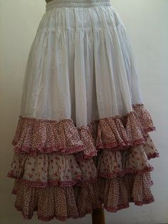 Solid skirts with fabric/sheet scrap leftover ruffles.