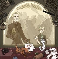 Ahem, Scorpius . . . by ~Dendraica on deviantART. Scorpius finds the pet of his dreams - a white ferret