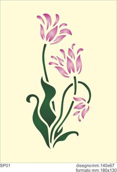 SP01 - F.LLI GREGORIO Stencil Patterns, Stencil Painting, Stencil Designs, Paint Designs, Fabric Painting, Stenciling, Tulip Drawing, Bordado Floral, Reverse Applique