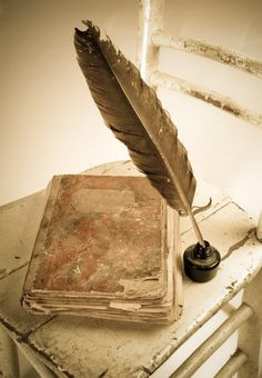 Cottage Charm ~ pink, sepia ~ old style quill & ink and old fashioned leather bound note book of parchment like paper Old Books, Antique Books, Vintage Books, Vintage Cards, Quill And Ink, Lost Art, I Love Books, Love Letters, Writing Inspiration