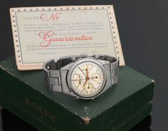 At a December 2012 auction, Antiquorum also auctioned a Rolex Dato-Compax Chronograph made in 1951, famously worn by, and nicknamed for, the Olympic skiing champion Jean-Claude Killy. The rare Ref. 6036, a round-button chronograph with three subdials and a triple date shattered the record for that reference at auction, going for a staggering $614,500, significantly higher than its $180,000 – $200,000 estimate. #rolex