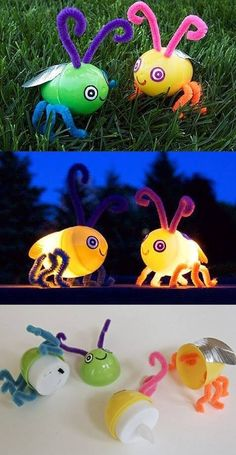 These fireflies are super easy to make. Just pop a flameless LED tea light into a plastic Easter egg, you don't even need glue. Poke holes through the egg with a thumbtack to insert pipe cleaners. The eyes are drawn onto white sticky labels, and the wings are silver duct tape. Quick, easy and totally cute!