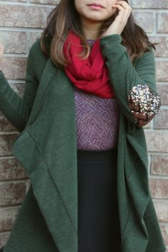 Sequin Patch Cardigan - Olive