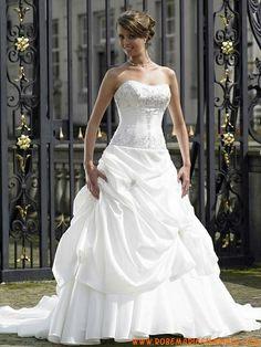 Magnifique sans bretelle perles ballon robe de mariée broderies 2012 taffetas