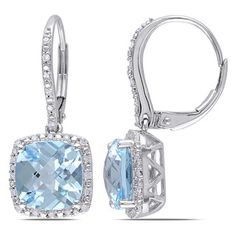 @Overstock - Miadora 10k White Gold Blue Topaz and 1/5ct TDW Diamond Earrings (H-I, I2-I3) - These gorgeous dangle earrings from the Miadora Collection feature cushion checkerboard-cut sky blue topaz stones adorned with round white diamond accents. This lovely pair is set in 10-karat white gold and is secured with leverbacks.  http://www.overstock.com/Jewelry-Watches/Miadora-10k-White-Gold-Blue-Topaz-and-1-5ct-TDW-Diamond-Earrings-H-I-I2-I3/9052866/product.html?CID=214117 EUR…