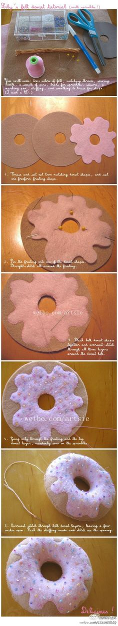 kawaii cute diy craft sweet donut plush tutorial