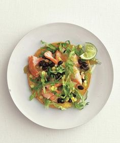 Salmon, Black Bean, and Corn Tostadas | Whether they're served alongside a main ingredient or playing a prominent role in a meal, canned beans are a quick and easy way to add a healthy boost of protein to any dish.