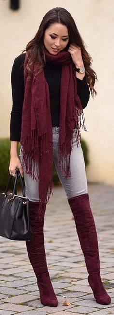 Casual chic in burgundy, gray and black.