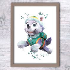 Everest Paw Patrol watercolor poster Paw Patrol print, paw patrol wall art, paw patrol artwork  boys room decor cute puppy watercolor V274 by ColorfulPoster on Etsy