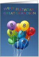 8th Birthday Card for Great Grandson colored balloons Card by Greeting Card Universe. $3.00. 5 x 7 inch premium quality folded paper greeting card. Find cards for everyone on your list at Greeting Card Universe. A picture is worth a thousand words, so why not send a photo card this year? Send a paper card from Greeting Card Universe this year. This paper card includes the following themes: photo, photography, and studio porto sabbia. Set your paper cards apart this yea...