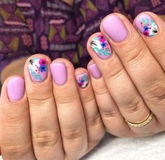 Pink and Blue Tone Floral Nails Fancy Nails, Cute Nails, Pretty Nails, Spring Nails, Summer Nails, Purple Pedicure, Nail Polish, Flower Nails, Nail Decorations
