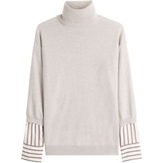 Brunello Cucinelli Cashmere Pullover (99.600 RUB) ❤ liked on Polyvore featuring tops, sweaters, grey, striped turtleneck sweater, short-sleeve turtleneck sweaters, pullover sweaters, grey cashmere sweater and gray cashmere sweater