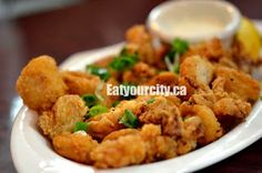 Haultain Fish & Chips Victoria, BC - yes, more fish and chips! Calamari, Fish And Chips, Yummy Snacks, Restaurants, Tasty, Victoria, Chicken, Desserts, Food