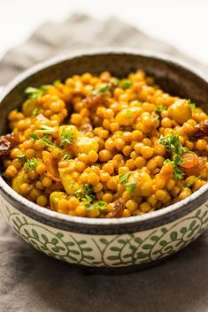 Curried Israeli Couscous. Curry, cashews, and a hint of sweet give this plant-based dish a burst of flavor.