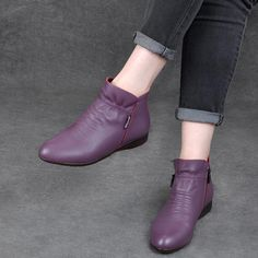 Almond Toe Ruched Flats Leather Boots,Flat Bottom Bare Boots High-Top Pointed Leather Women's Simple Shoes Boots for Girls - Face the Wind and Climate with Charm Women's boots : With the b. Women's Shoes, Shoe Boots, Simple Shoes, Casual Shoes, Flat Leather Boots, Nursing Shoes, Flats, Girls Shoes, Ladies Shoes