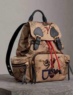 b374da4a8836 Details about NWOT Authentic Burberry Medium Rucksack in Sketch Print Nylon  -  1