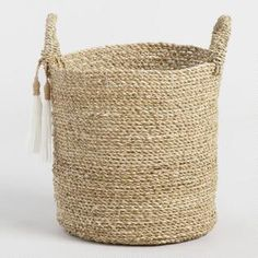Small Seagrass Delilah Tote Basket with Tassels