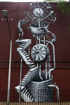 Phlegm's first walls in the USA / http://www.phlegmcomics.com