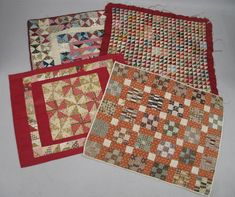 "FOUR DOLL QUILTS. A 3/4"" nine patch in tans, blue, Garth's Auction, Live Auctioneers"