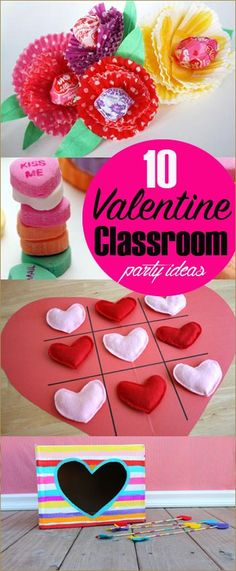 10 Valentine Classroom Party Ideas.  Great ideas for planning a school Valentine's party.  Kid Valentine activities, games and crafts.