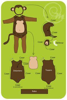 Tes Pes to Miayo: Tutorial Express: Monkey Suit Más Diy Monkey Costume, Monkey Costumes, Diy Costumes, Halloween Costumes, Costume Singe, Tutorial Fantasia, Monkey Birthday Parties, School Play, Costume Ideas