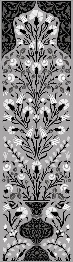 Ottoman Panel No 3 stencils  stencil-library.com