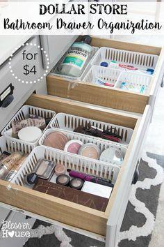Super cheap bathroom storage organisation thanks to the Dollar Store
