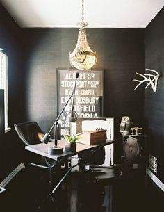 Home Office in a Closet size space. black office Home Office Design, Pictures, Remodel, Decor and Ideas - page 7 . Home Office Ideas Workspace Inspiration, Decoration Inspiration, Interior Inspiration, Bathroom Inspiration, Interior Ideas, Workspace Design, Home Office Design, House Design, Office Designs