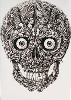 Невероятный рисунок черепа Алекса Конахина | Incredible image of the skull by Alex Konahin